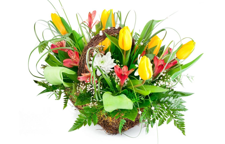 Фото обои цветы, букет, тюльпаны, альстрёмерия