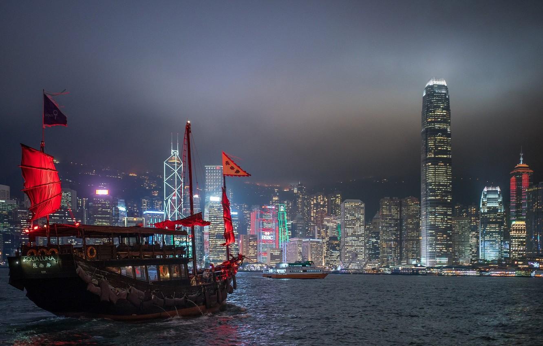Фото обои море, ночь, город, корабль