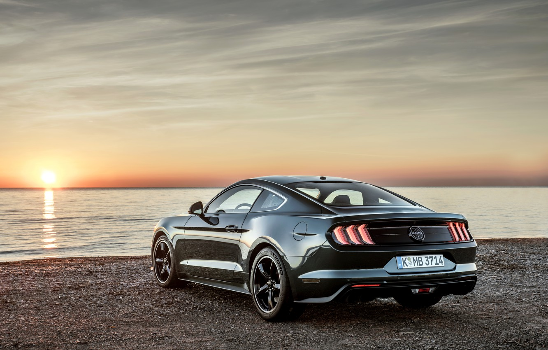 Фото обои Mustang, Ford, вечер, водоём, 2018, Bullitt, фастбэк