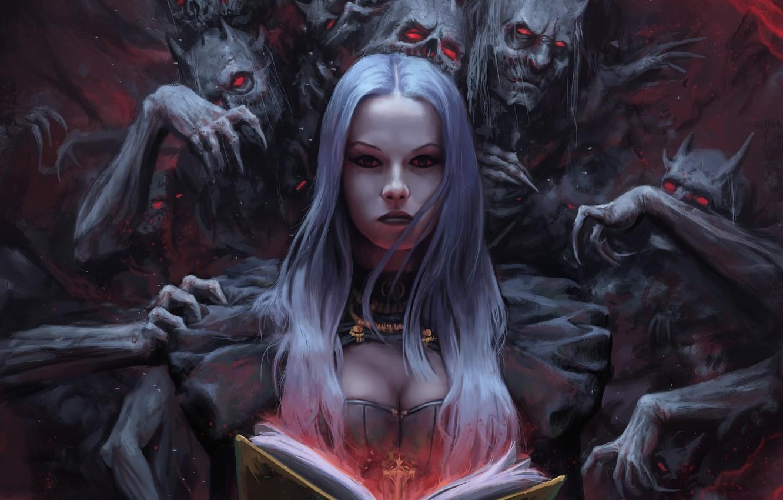 Фото обои демон, фэнтези, арт, фрагмент, Stefan Koidl, The Demon Book