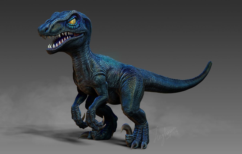 Фото обои рендеринг, динозавр, арт, TingHan Wu, My Blue(小藍)