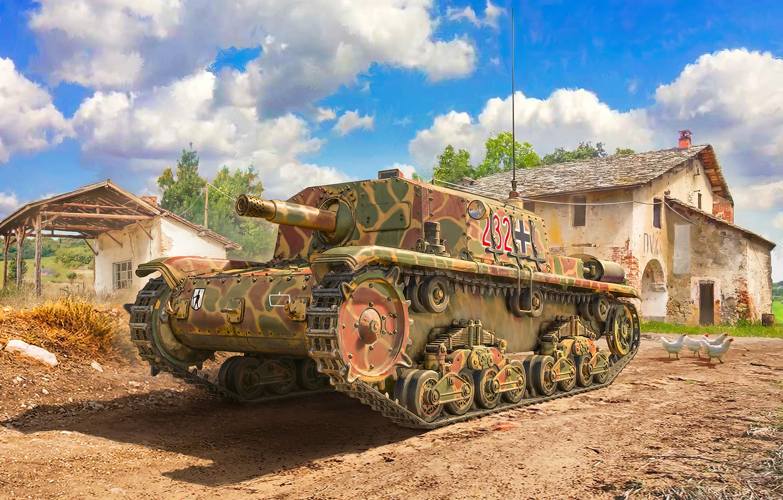 Фото обои art, painting, tank, ww2, M41