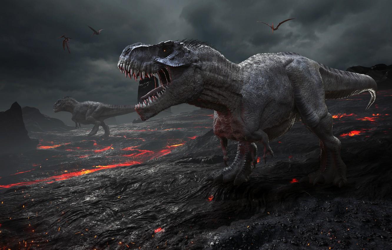 Фото обои графика, динозавр, тираннозавр