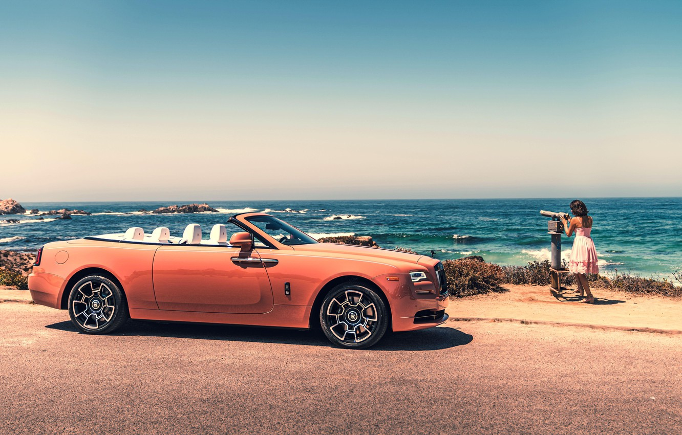 Фото обои Girl, Orange, Luxury, Rolls-Royce Wraith