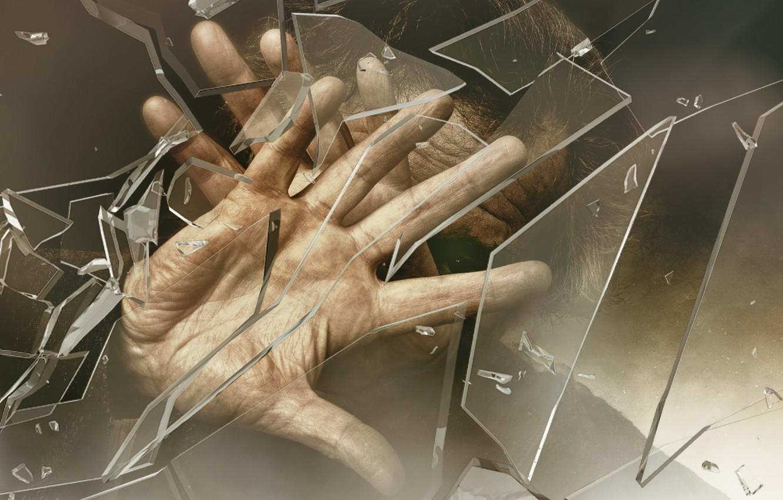Фото обои стекло, человек, руки