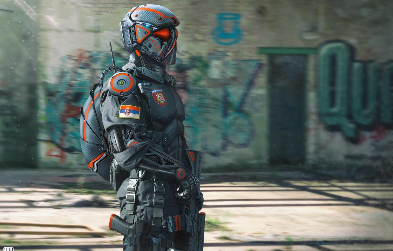 Фото обои Робот, Полиция, Стиль, Солдат, Оружие, Военные, Арт, Police, Robot, Фантастика, Military, Сербия, Спецназ, Soldier, Characters, …