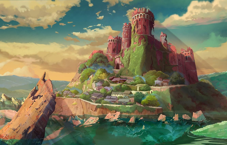 Фото обои скала, остров, руины, 近衛曦晨晨