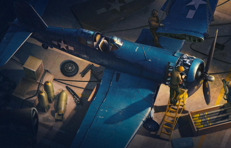 Обои Вторая мировая, F4u corsair, chance vought. Авиация foto 12