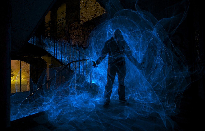 Фото обои энергия, человек, тень, силуэт, енергия