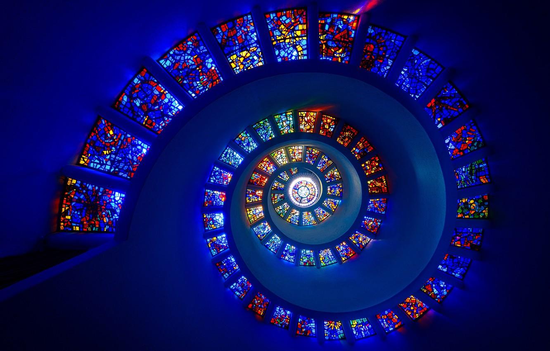 Фото обои спираль, витражи, spiral, stained glass, Michael Zheng