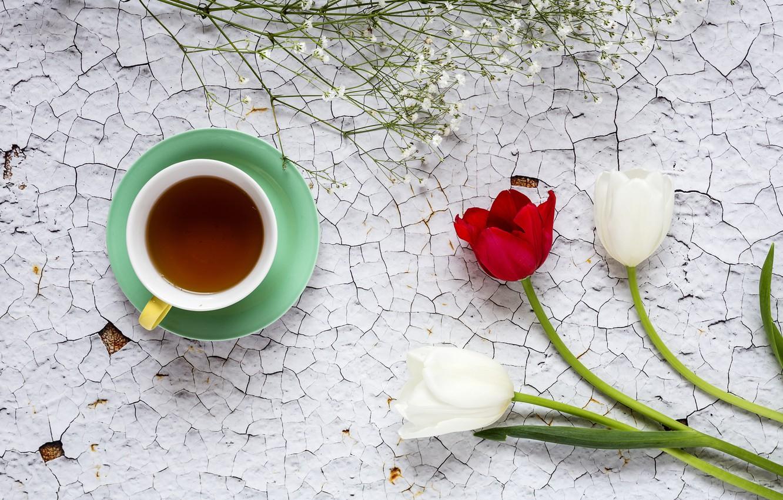 Фото обои цветы, тюльпаны, red, white, белые, wood, flowers, cup, tulips, coffee, чашка кофе