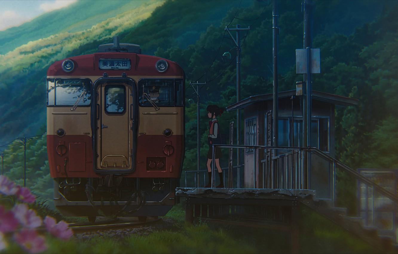 Фото обои станция, Япония, вагон, школьница, платформа, пасмурная погода, Kimi no Na wa, Miyamizu Mitsuha, Твоё имя, …