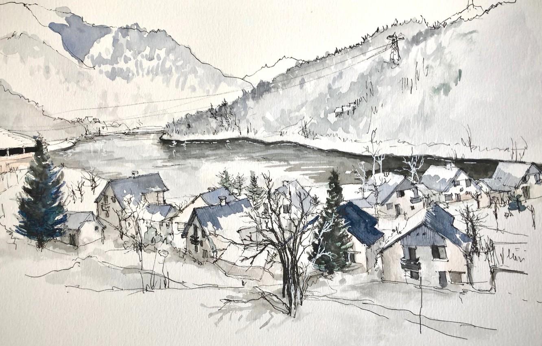 Фото обои пейзаж, рисунок, Франция, акварель, Вожани