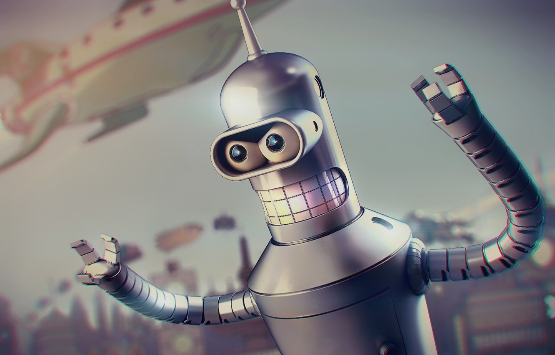 Фото обои Metal, Futurama, Robot, Planet Express, Future, 20th Century Fox, Spaceship, Blur, Buildings, Teeth, Character, Bender …