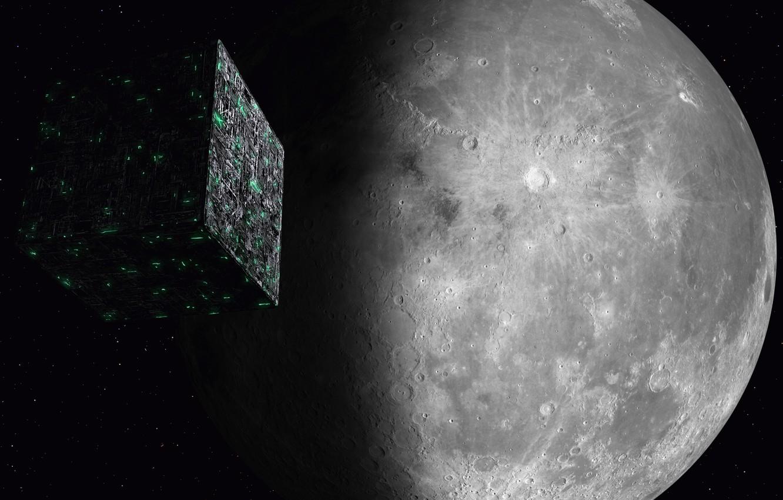 Фото обои космос, луна, space, moon, Star Trek, kosmos, Звёздный путь, Borg Cube, Куб Борг, Borg, Борг