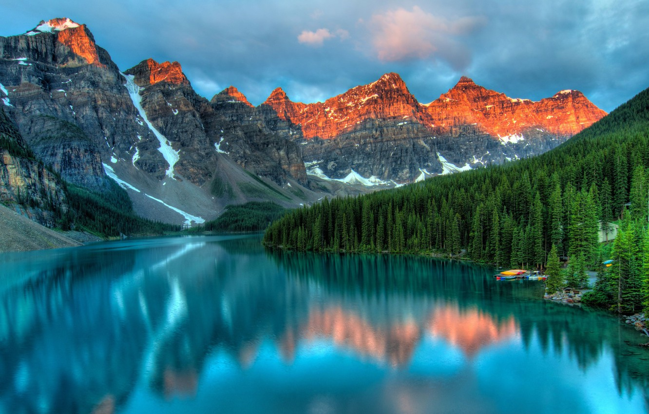 Фото обои forest, sky, trees, landscape, nature, water, clouds, lake, Mountains, reflection, boats, Moraine Lake, peaks