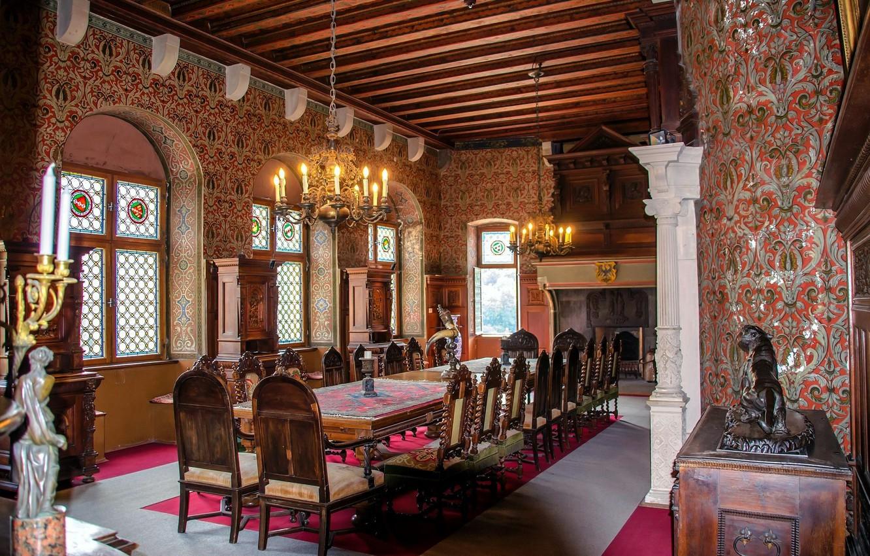 Фото обои стол, окна, стулья, арки, столовая