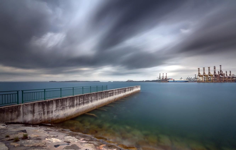 Фото обои город, порт, Singapore