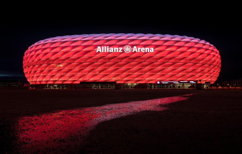 Обои альянц арена, мюнхен, подсветка, германия, стадион. Города foto 6
