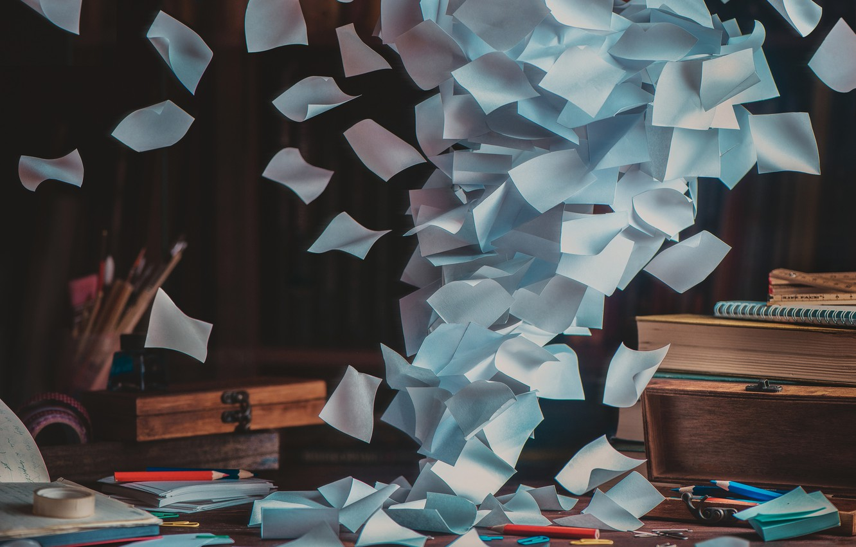 Фото обои бумага, стол, карандаши, paper, table, pencils, Dina Belenko