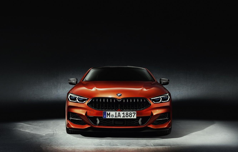 Фото обои оранжевый, фон, купе, BMW, вид спереди, Coupe, 2018, 8-Series, 8er, G15