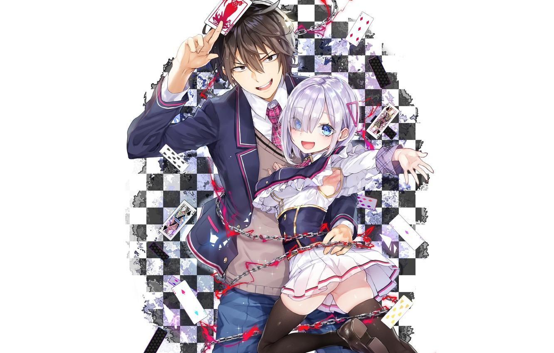Фото обои девушка, карта, арт, пара, парень, двое, Jishou F-Rank no Oniisama ga Game de Hyouka sareru
