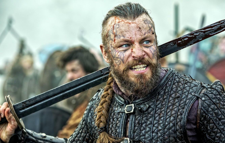 Фото обои кровь, доспехи, Сериал, blood, актёр, armor, actor, TV Series, Vikings, King, Викинги, Peter Franzén, Harald …