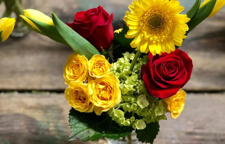 Фото обои розы, букет, гортензия, гербера