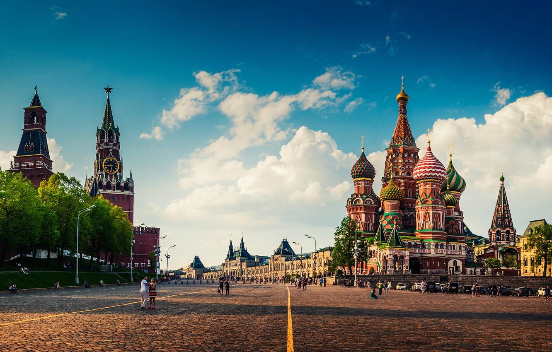 Фото обои лето, Москва, Кремль, Храм Василия Блаженного, Покровский собор, Красная Площадь, ГУМ, ЦУМ, Успен
