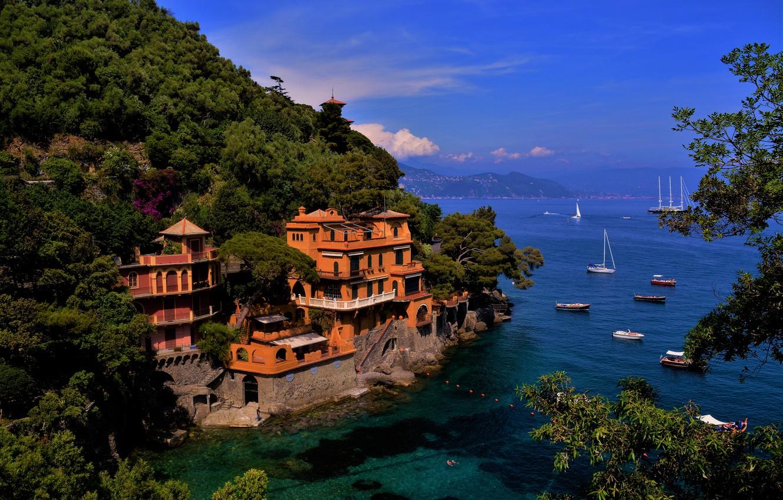 Фото обои море, пейзаж, горы, город, берег, дома, лодки, Италия, Портофино