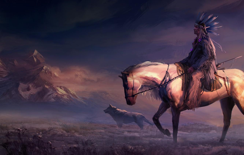 Фото обои field, animals, art, mountains, rider, horse, digital art, artwork, painting art, woles, Native American