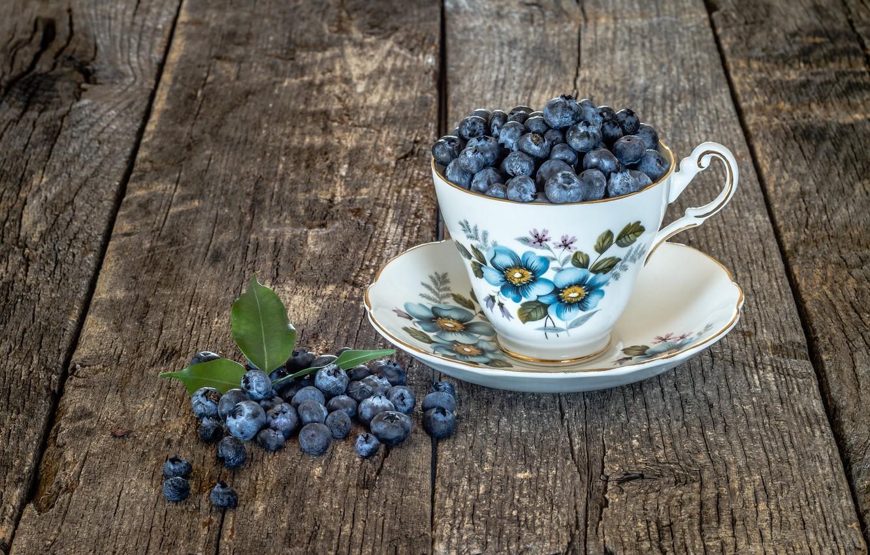Фото обои ягоды, кружка, Blueberries