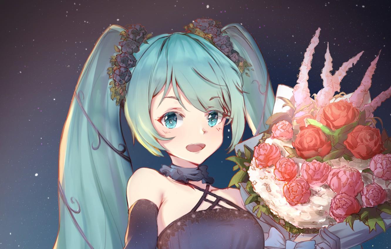 Фото обои цветы, улыбка, букет, девочка, Hatsune Miku, Vocaloid, Вокалоид, Хатсуне Мику