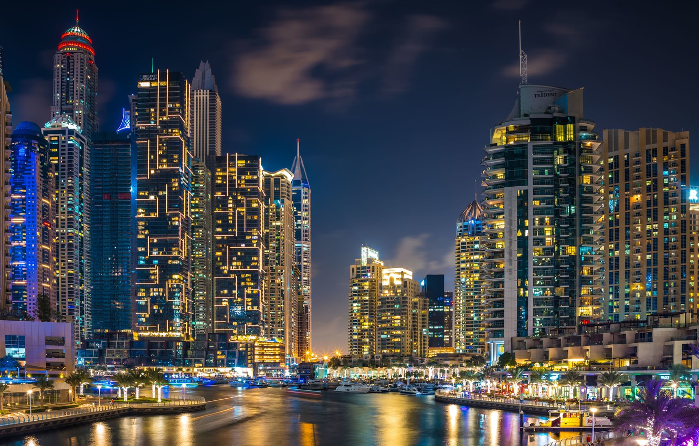 Фото обои здания, дома, залив, Дубай, ночной город, Dubai, небоскрёбы, гавань, ОАЭ, UAE, Дубай Марина, Dubai Marina