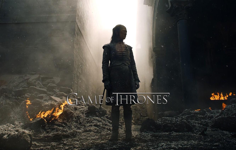 Фото обои wallpaper, fire, girl, movie, game of thrones, stark, Maisie Williams, serie, ancien, arya stark