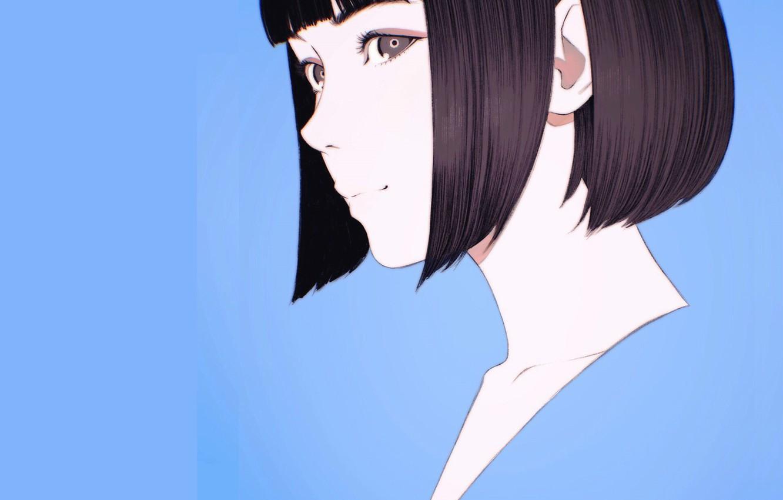 Фото обои лицо, стрижка, голубой фон, чёлка, портрет девушки, Илья Кувшинов