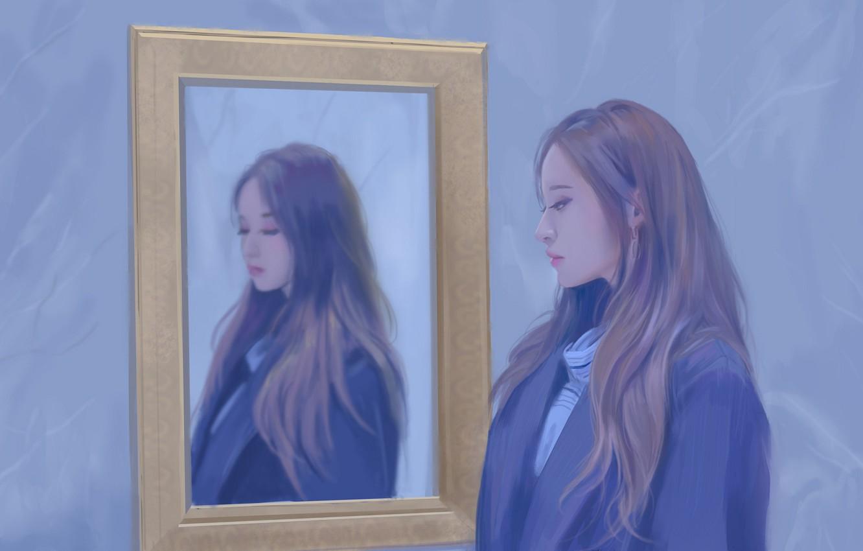 Фото обои девушка, картина, азиатка