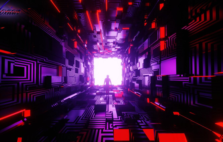 Фото обои комната, силуэт, коридор, тоннель, куб, геометрия, киберпанк, фигуры, sci-fi, cyberpunk, рендер, Tsotne Kharshiladze