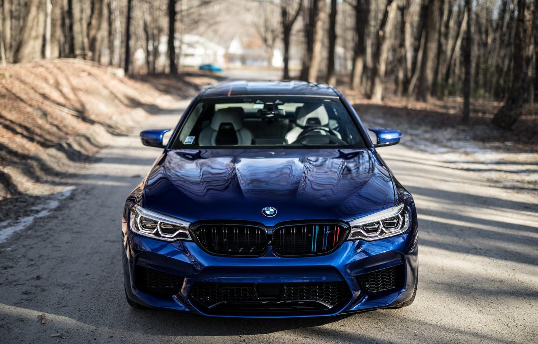 Фото обои BMW, Blue, Forest, Sight, F90, Adaptive LED