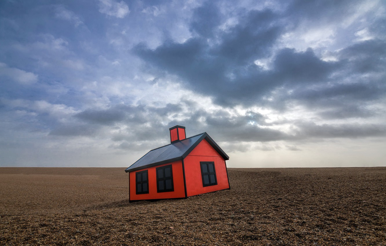 Фото обои небо, дом, пустыня