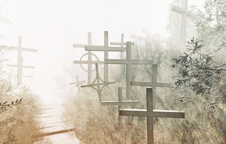 Фото обои свет, фон, крест, In memoriam