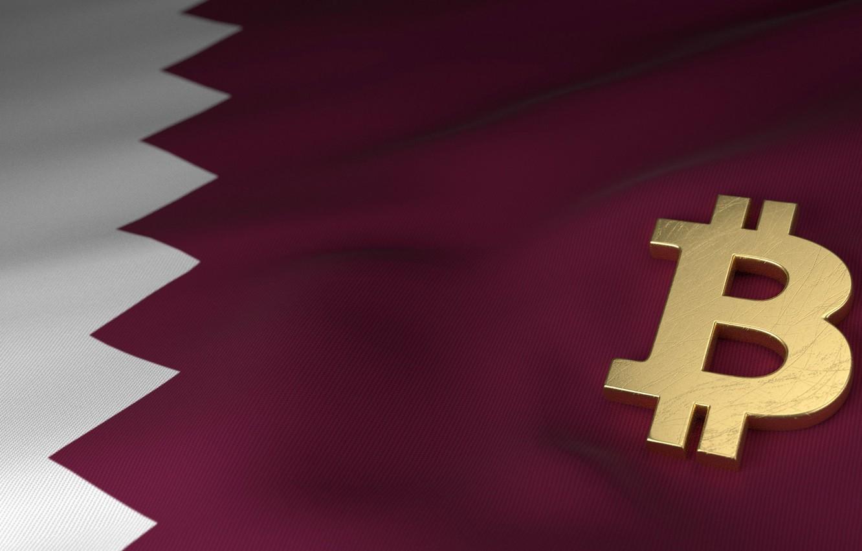 Фото обои размытие, флаг, flag, qatar, bitcoin, биткоин, btc, катар