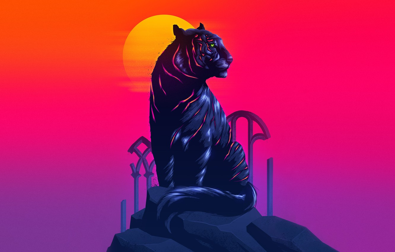 Фото обои Солнце, Кошка, Тигр, Neon, Животное, James White, Synth, Retrowave, Synthwave, New Retro Wave, Futuresynth, Синтвейв, …