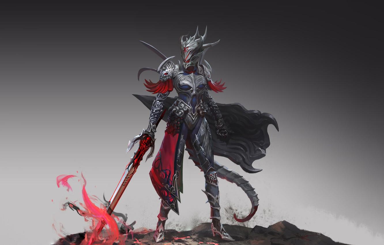 Фото обои Girl, Fantasy, Art, Style, Illustration, Sword, Armor, Figure, Character