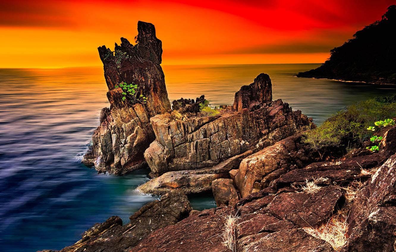 Фото обои море, пейзаж, закат, природа, скалы, горизонт, Таиланд