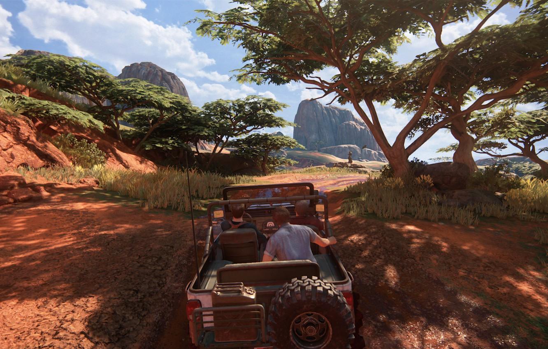 Фото обои джип, Мадагаскар, Салли, Naughty Dog, Playstation 4, Uncharted 4, Сэм Дрейк, Нэйтан Дрейк