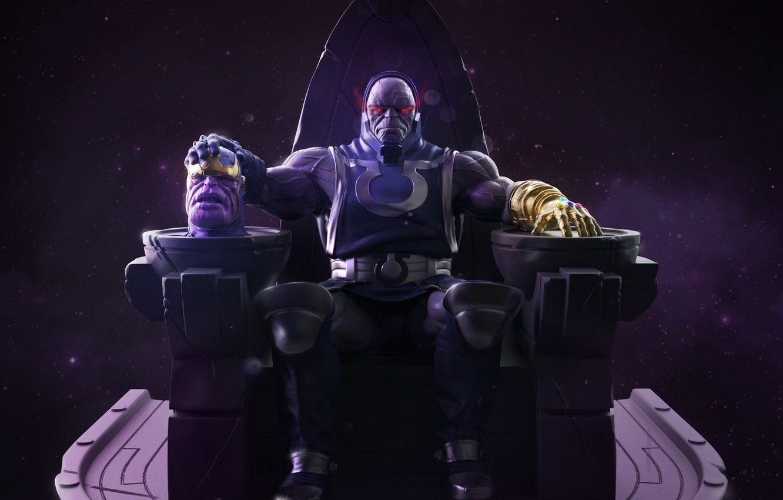 Фото обои dc comics, marvel comics, infinity stone, darkseid, thanos