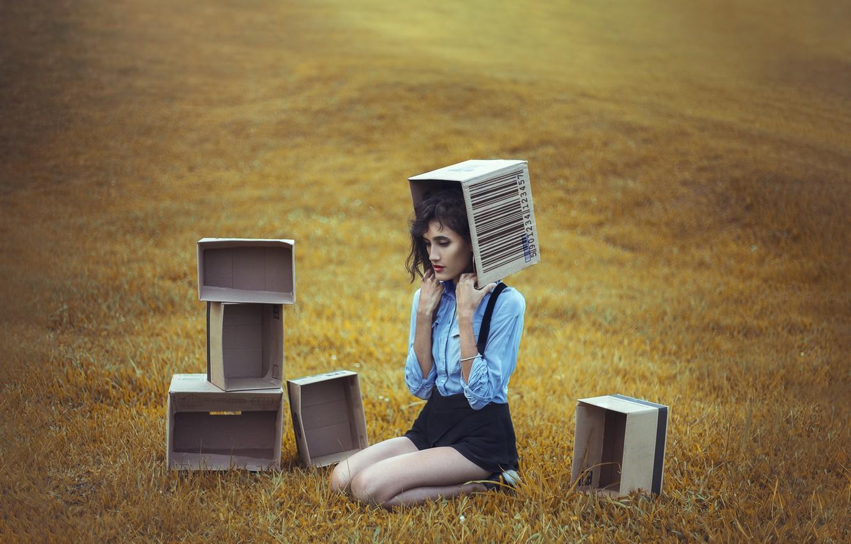 Фото обои поле, девушка, коробки