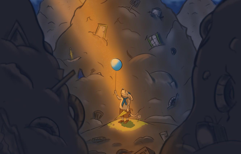 Фото обои мечта, свет, мышь, свалка, воздушный шарик