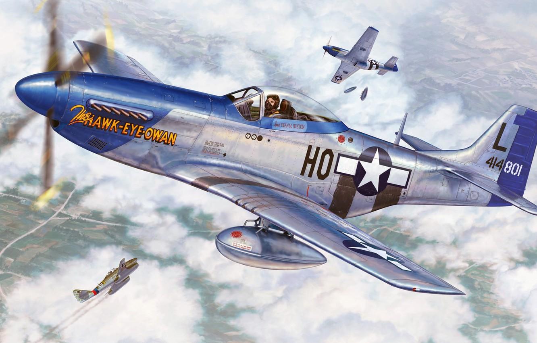 Обои дальний, одноместный, P-51c mustang, американский. Авиация foto 7
